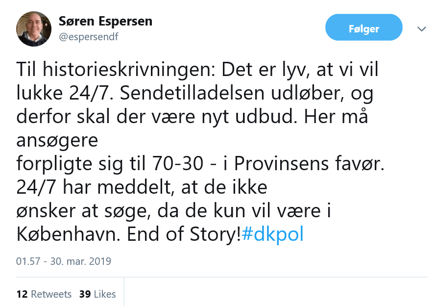 Søren Espersen om Radio24syv